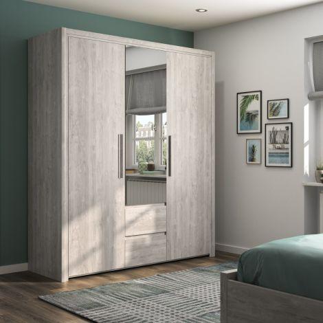 Kledingkast Luisa 184cm met 3 deuren & spiegel - lichtgrijze eik