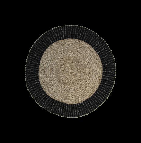 Vloerkleed Malibu ø150cm raffia/zeegras – naturel/zwart