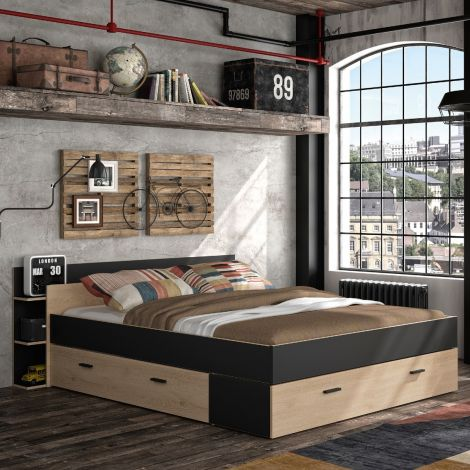 Bed met opbergruimte Eveline 140x190 - zwart/kastanjehout