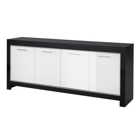 Dressoir Modena 4 deuren - zwart/wit