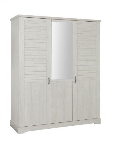 Kledingkast Wanda 170 cm 3 deuren & spiegel - wit kastanjehout