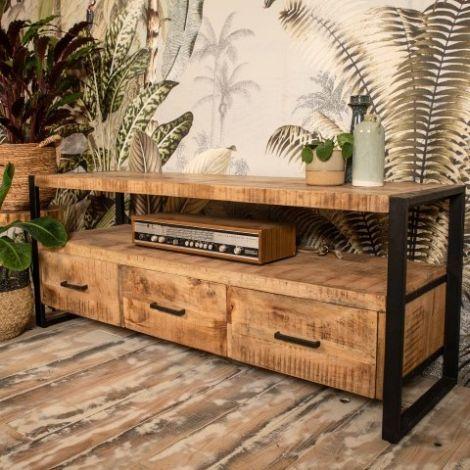 Tv-meubel Havana 150cm met 3 lades - mangohout/ijzer
