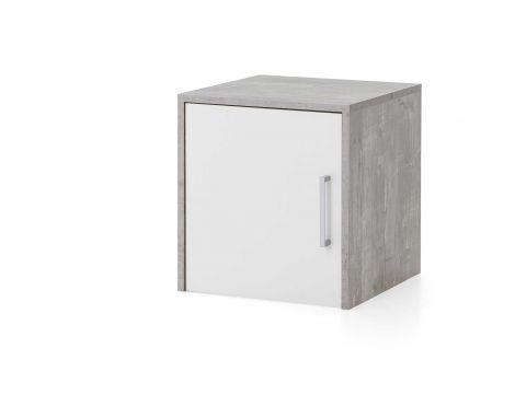 Opzet-/hangkast Maxi-office 1 deur - beton/wit