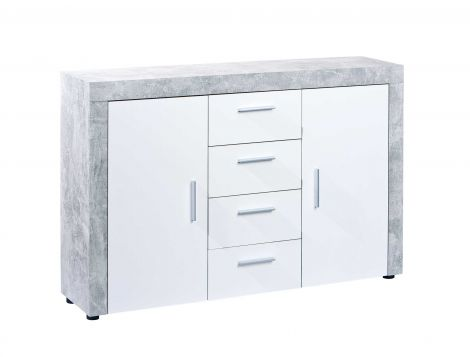 Dressoir Betonlook - grijs & wit - 134 cm