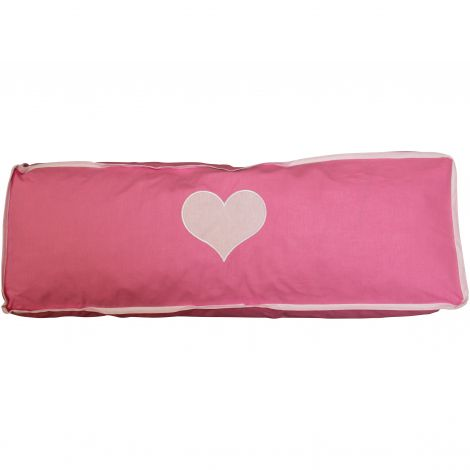 Kussen roze/wit hart