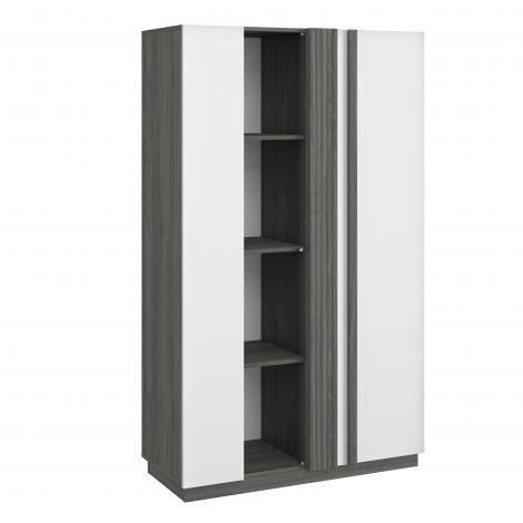 Vitrinekast Gaston 2 deuren - zwart hout/wit
