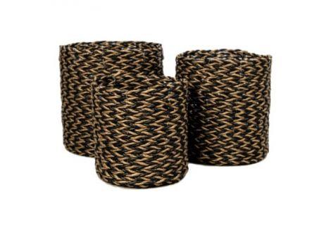 Mandenset - raffia / zeegras - goud / zwart - set van 3