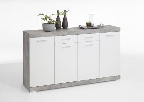 Commode Cristal 4 deuren en 2 laden 160x90x35 - beton/hoogglans wit