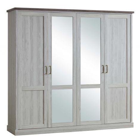 Kledingkast Emily 225cm met 4 deuren & spiegel - grijs