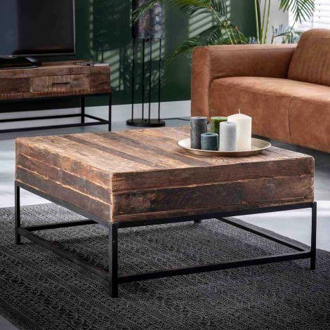 Vierkante salontafel Lodge 90cm gerecycleerd hout