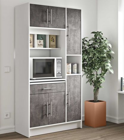 Keukenkast Louise voor magnetron - wit/beton