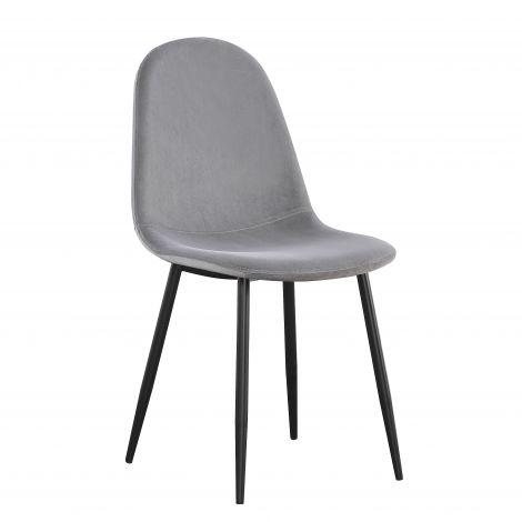 Set van 4 stoelen Jo fluweel - grijs