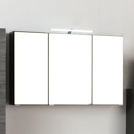 Spiegelkast Florent 120cm met 3 deuren & ledverlichting - grafiet