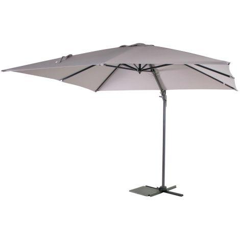 Parasol Borneo 300x300cm met kruisvoet en hoes - grijs