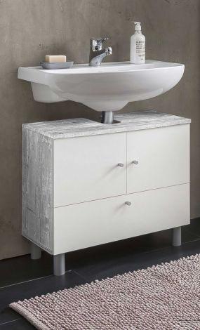 Wastafelonderkast Benja 3 deuren - wit/beton