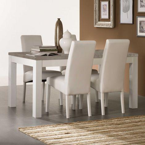 Eettafel Roma 160 cm - wit/beton