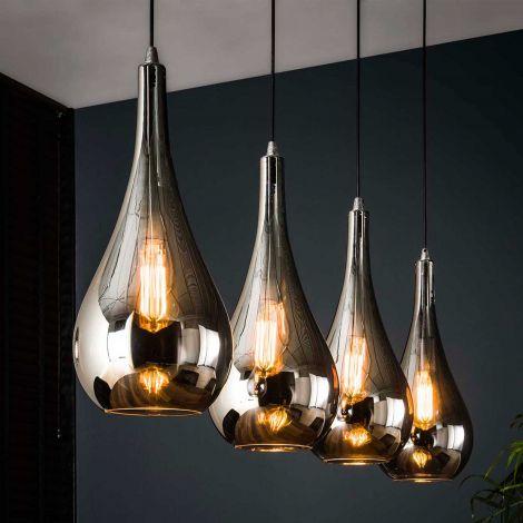 Hanglamp Sylvie 4 lampen druppel - chroom