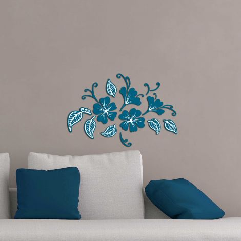 Muurstickers 3D Flowers & Leaves blauw - schuimstickers