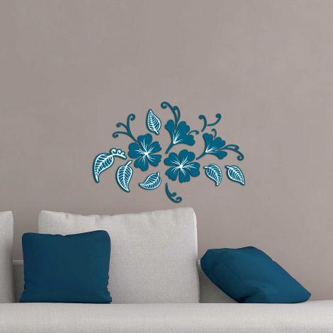 Muurstickers 3D Flowers & Leaves blauw - schuimstickers