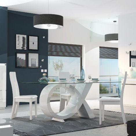 Eettafel Elif 200x100 met glazen blad - hoogglans wit
