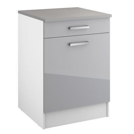 Onderkast Eli 60 cm met lade en deur - grijs