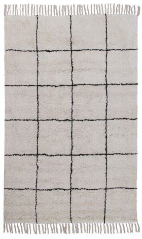 Vloerkleed Berber Geruit 230x160 - Ivoor