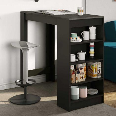 Bartafel Aravis 115x50 met opbergruimte - zwart/beton