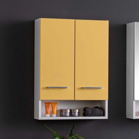 Hangkast Ricca 50cm 2 deuren - wit/geel