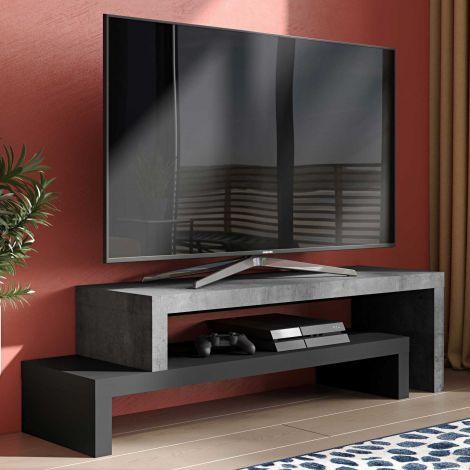 Tv-meubel Cliff 125cm - beton/zwart