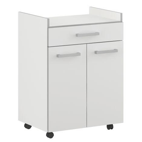 Bijzetkastje Pixel 1 lade & 2 deuren - wit