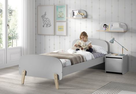 Kiddy bed 90x200 - lichtgrijs Scandinavisch kinderbed