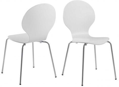Set van 4 stapelbare stoelen Lucas - wit/chroom