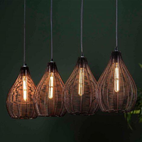 Hanglamp Dira 4 lampen - zwart nikkel