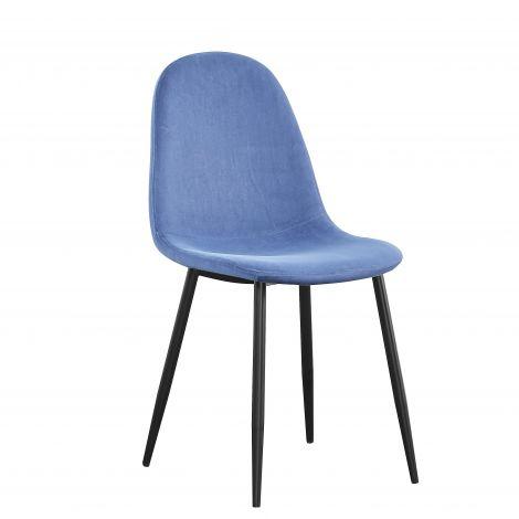 Set van 4 stoelen Jo fluweel - blauw