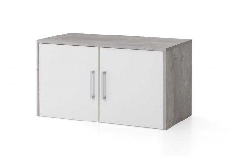 Opzet-/hangkast Maxi-office 2 deuren - beton/wit