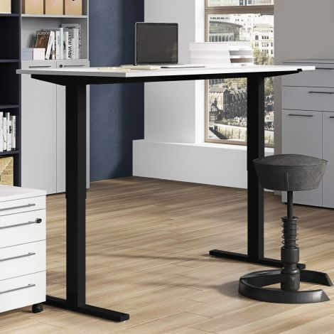 Zit-sta bureau Osmond 180cm elektrisch verstelbaar - lichtgrijs/zwart