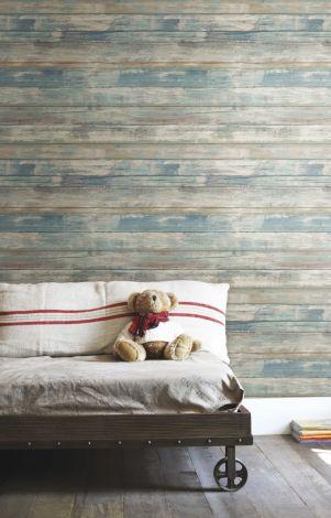 Zelfklevend behang Distressed Wood  - blauw