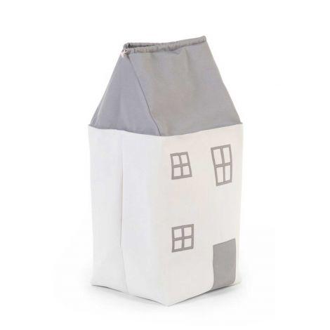 Speelgoedzak Huis - wit/grijs