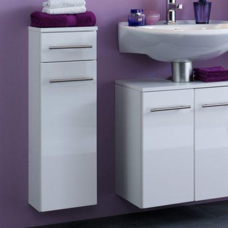 Badkamerkastje Small 25cm 1 lade & 1 deur - hoogglans wit