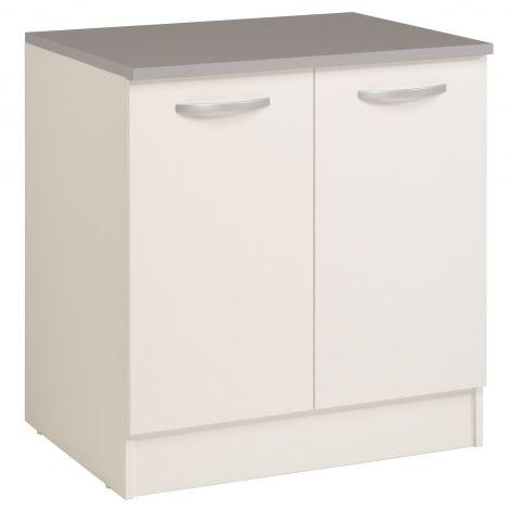 Onderkast Eko 80 cm voor spoelbak met 2 deuren - wit
