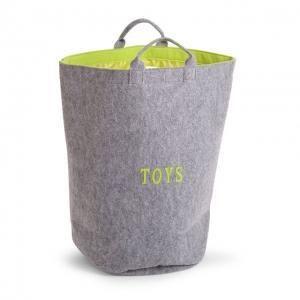 Vilten speelgoedzak rond - grijs/limoen