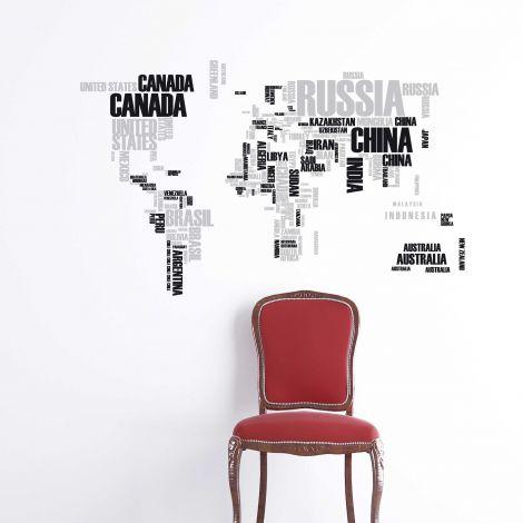 Muursticker Wereldkaart XL