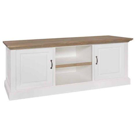 Tv-meubel Oakdale 164cm 2 deuren & legplank - wit/eik