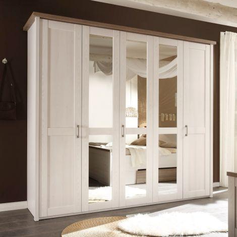 Kledingkast Larnaca 241cm met 5 deuren - wit