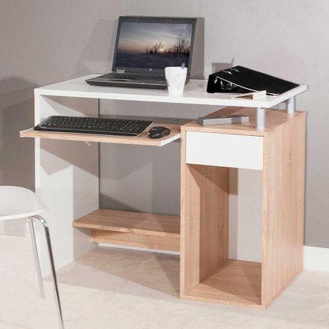 Computertafel Harvard - eik/wit
