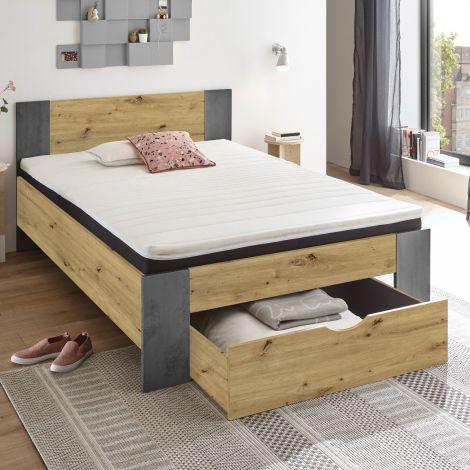 Bed Rudi 140x200 met 1 lade - oude eik/beton