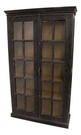 Vitrinekast Durham - worn black / vintage