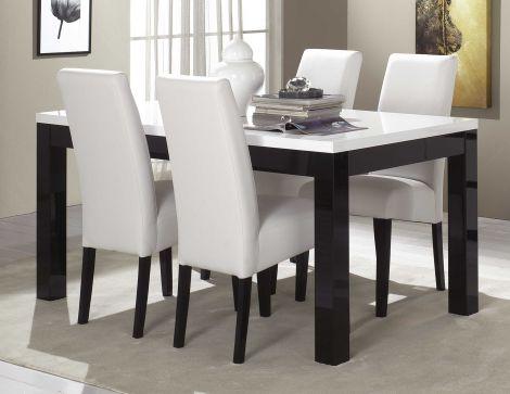 Eettafel Roma 160 cm - zwart/wit