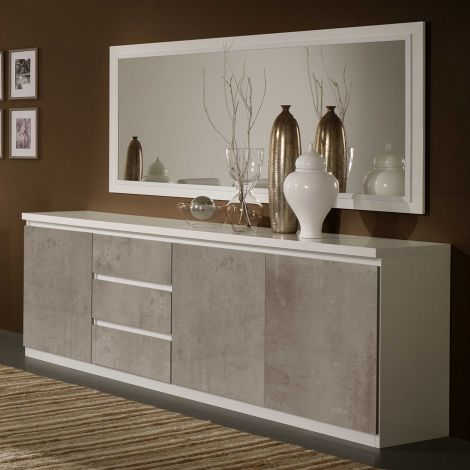 Dressoir Roma 3 deuren & 3 lades - wit/beton