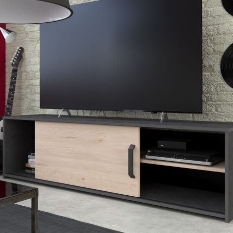 Tv-meubel Leandro 155cm - zwart/eik